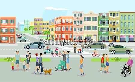 bylandskab med vej og mennesker