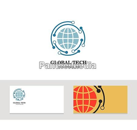 logo, ikon, firmakort, kloden, vektor, illustration - 28700855