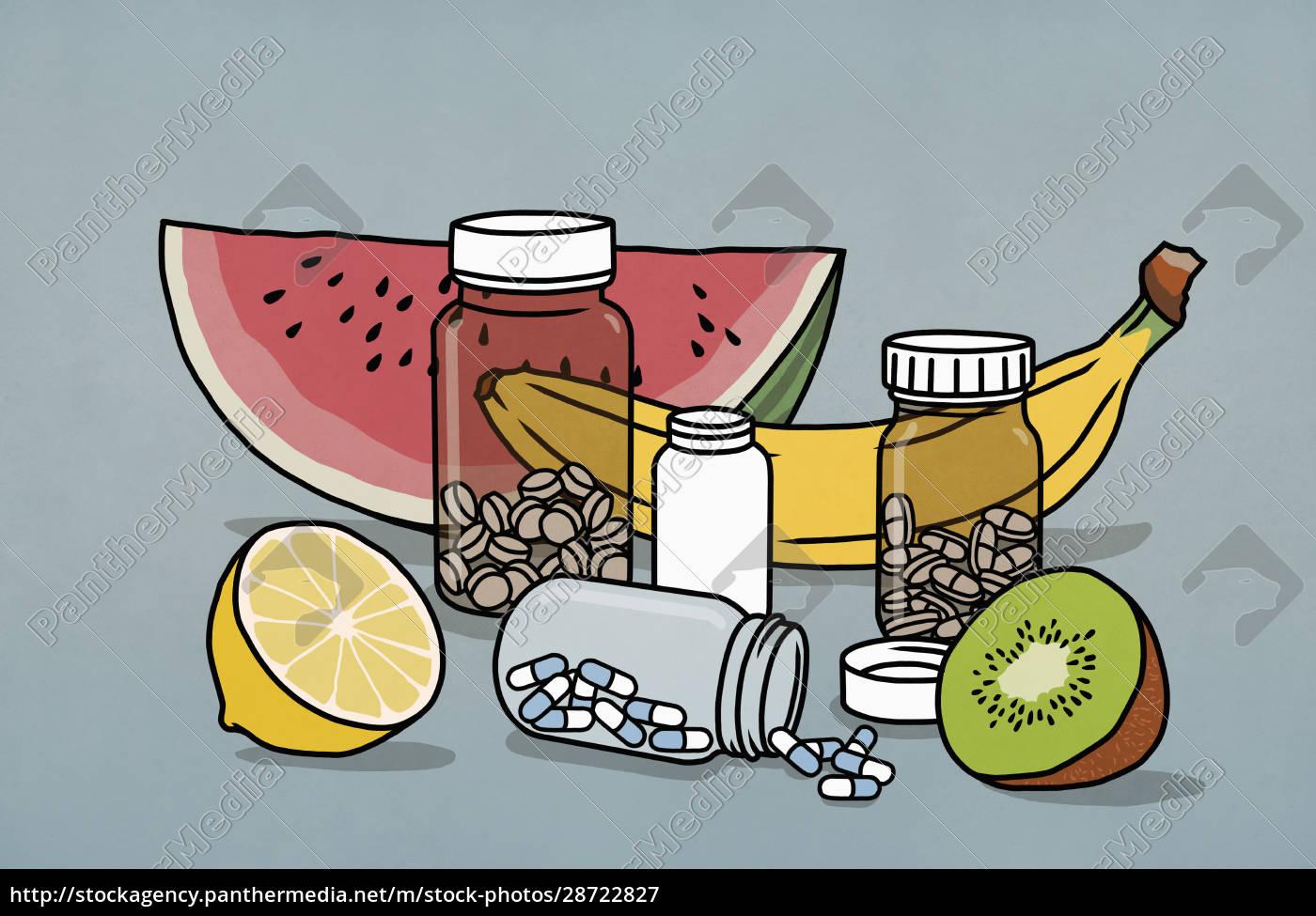 still, life, fruit, and, supplement, medication - 28722827