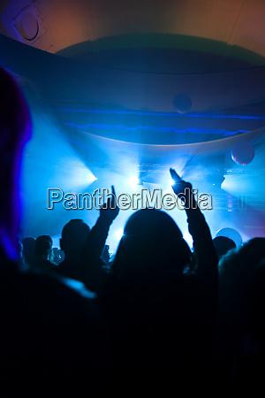 crowd hepper under elektronisk musikfestival