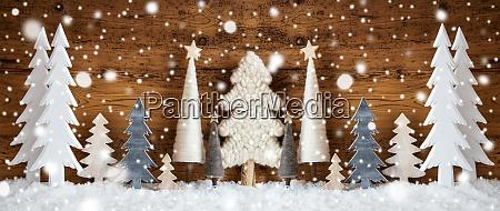 banner juletraeer sne brun baggrund snefnug