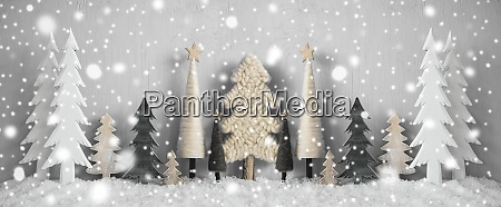 banner, juletræer, sne, gul, baggrund, glædelig, jul - 28888268