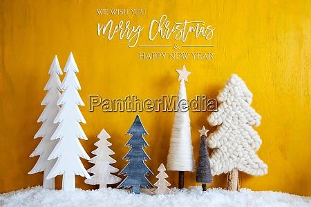 juletraeer sne gul baggrund glaedelig jul